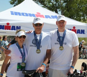 I completed the swim portion of a half-Ironman relay in 2012. My dad did the bike and my sister did the run.