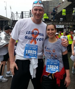 With my wife after we finished Cincinnati's Flying Pig half-marathon on May 5, 2013.