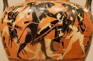 This vase depicts Hercules fighting the Amazon women.