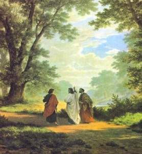 Classic picture by Robert Zund of Jesus talking to two disciples on the Road to Emmaus. What did Jesus explain to them as they walked?